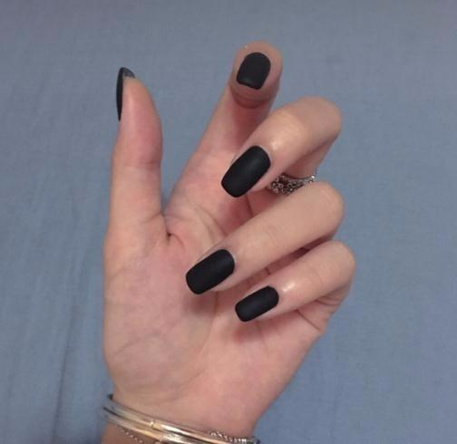 24pcs Matte Solid Pure Black Punk Fake Press On Oval Black Frosted False Full Cover False Nails With Glue Sticker