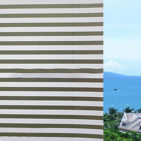 Mode auto-adhésif Window Film en verre givré blanc à rayures Film volets coulissants Porte de bain New Window Stickers