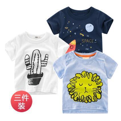 2019 new list children's clothing summer boys and girls T-shirt cotton children's short-sleeved baby shirt round neck three-pieces