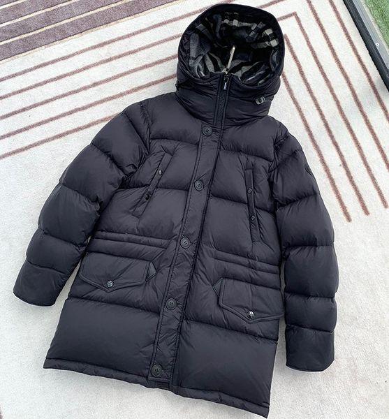 2019 hiver noir hommes de style britannique doudoune manteau à capuchon chaud classique donjon épais parka S-XXL simple boutonnage