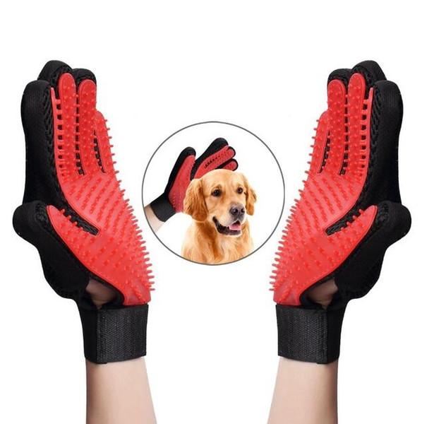 Cat Grooming Handschuhe Hundehaarentferner Sanfte Deshedding-Bürsten-Kamm-Werkzeug-Haustier-Massage-Mitt mit verbessertem langem / kurzem Pelz Freies Verschiffen