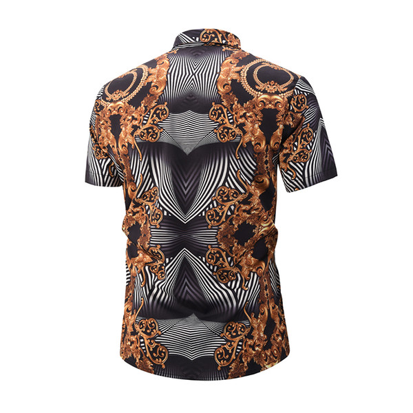 19 German brand clothing dress 3D printing Medusa shirt men's short-sleeved party club designer shirt dress