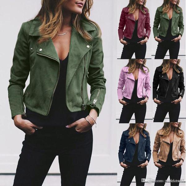 7 colori S-5XL PLus SIze Oversize Donna Giacca da donna in pelle Cappotti Zip Up Biker Flight Casual Top Coat Outwear
