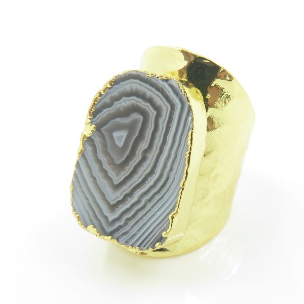 wholesale Bohemian Style Gold& Silver Electroplated Popular Natural Raw Botswana Agates Statement Rings