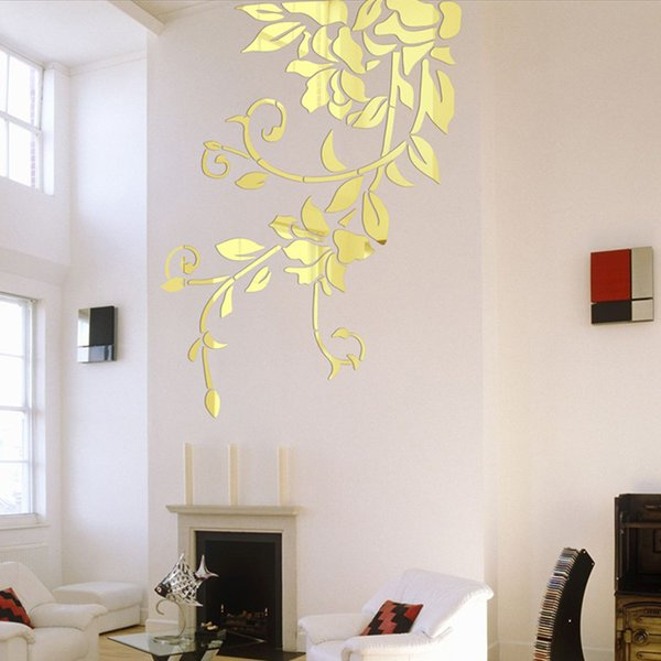 140 * 81Cm Fai da te Adesivi murali specchio acrilico Home Decor Stickers murali Decorazione Specchio Defogliation Flower Vine adesivi murali