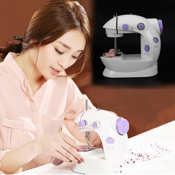 Mini Electric Handheld Sewing Machine 2018 Dual Speed Adjustment with Light Foot AC100-240V Double Threads Pendal Sewing Machine