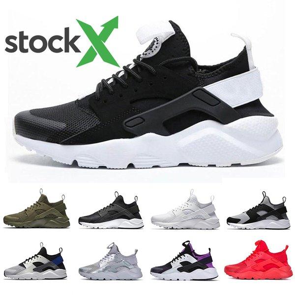 Nike Air huarache Stock X Oreo huarache IV 4.0 1.0 Mesh mens running shoes Breathable triple black white huaraches men trainers women sports sneakers