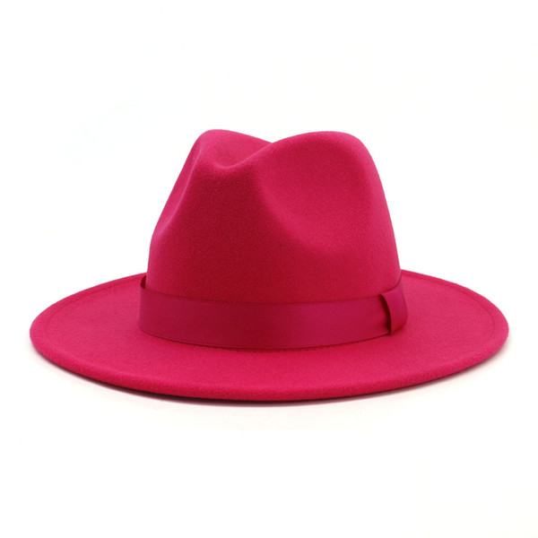 2019 Women Stylish Rosy Wool Felt Jazz Fedora Hats with Ribbon Wide Brim Panama Formal Hat Trilby Ladies Fascinator Dress Hats