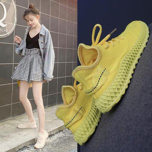 Корейские женские воздушные сетки лоскутное кокосовое обувь ночные беговые балетки, круглый носок на шнуровке дышащий портативный нескользящая спортивная обувь