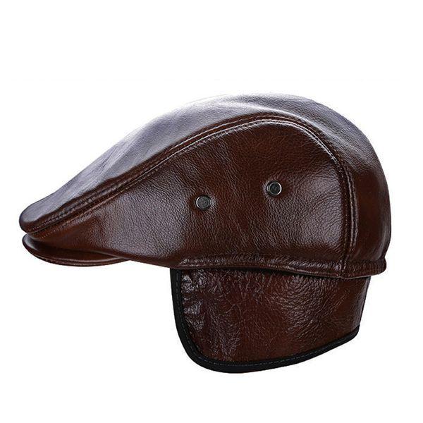 Fashion cow Leather Hat spring Sailor Hat For Women Men Black Brown flat top Female travel cadet Captain Cap 2019 New