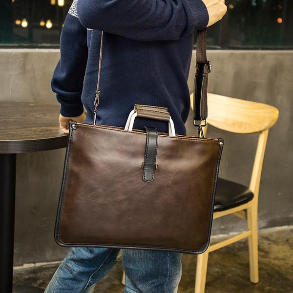 Hot Homme coréenne British rétro sac à main pour homme élégant Une épaule sac à bandoulière mallette portable une épaule