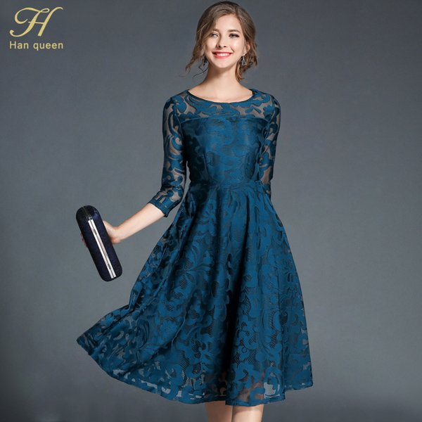 H Han Queen Lace Dress Work Casual Slim Fashion O-Collo Sexy Scava Fuori Blu Rosso Abiti Donna A-line Vintage Vestidos C19041701