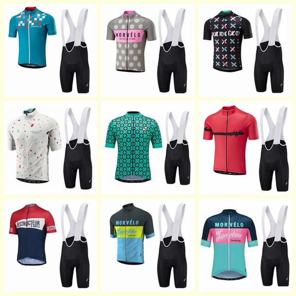 Morvelo команда Велоспорт короткие рукава Джерси нагрудник шорты наборы 2019 горячие мужчины MTB быстрый сухой дышащий велосипед спорт ropa ciclismo hombre U60612
