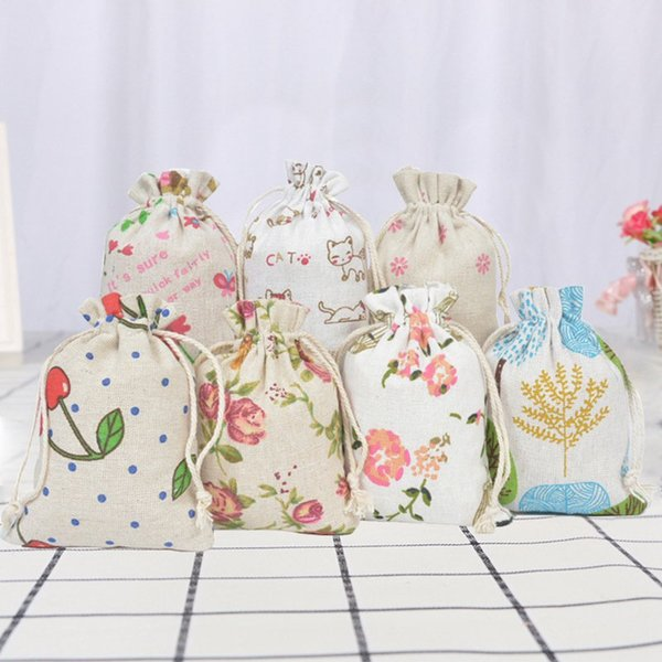 Printed Cotton Cloth Drawstring Small Bag Sachet Retro Bundle Gift Beads Earrings Necklace Female Jewellery Pouch Jewellery Bag