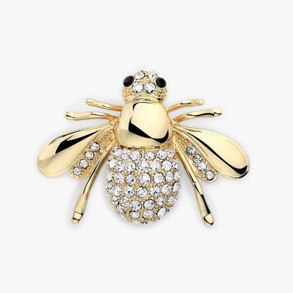 Abeille broche cristal insectes thème animal fashion couleur d 39 or personnalité européenne et américaine bijoux animal mignonne abeille broche en strass brooc