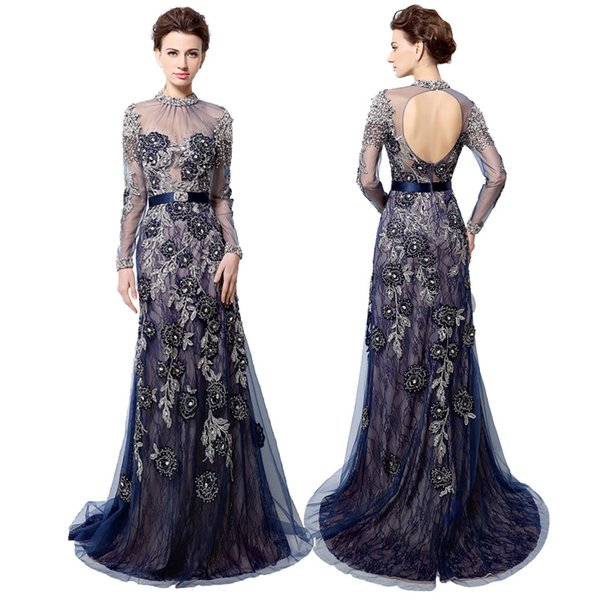 Real picture Navy blue long sleeve evening dresses Fashion high neck backless beaded crystals lace embroidery arabic formal prom gowns LX014
