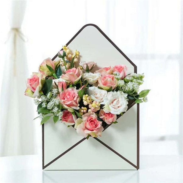 23*8*35CM Mini Envelope Fold Flower Box 6 Colors Rose Decoration Gift Box Flower Packing Boxes For Home Party Wedding 200 Pieces DHL