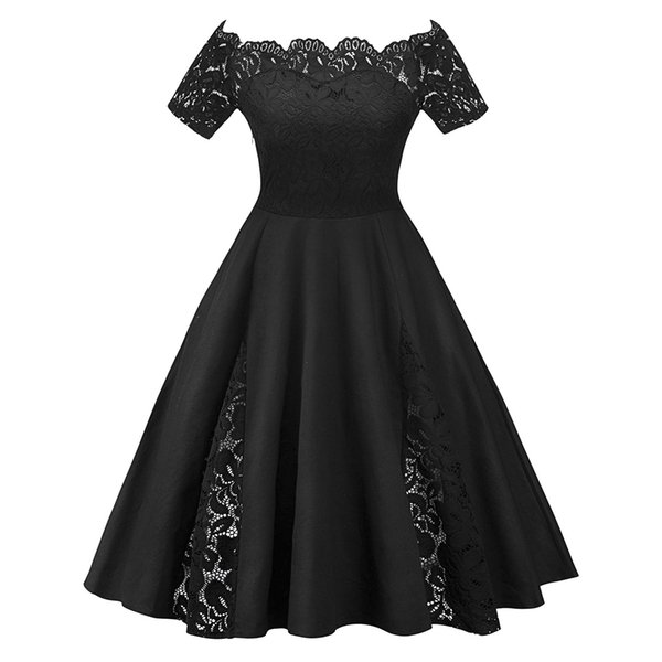 Wipalo Plus Size Vintage Lace Panel Off The Shoulder Short Sleeves A-Line Dress For Women Solid Color Elegant Party Dress 5XL