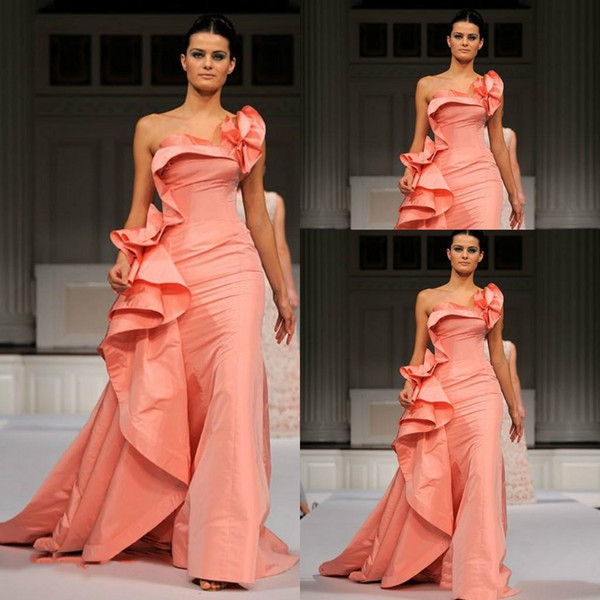 Elie Saab One Shoulder Mermaid Evening Dresses Long 2018 Court Train Sleeveless Ruffles Sweet Prom Dress Formal Party Gowns Plus Size