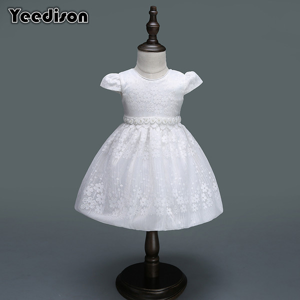 2018 Baby Girl Dress Newborn White Flower Princess Wedding Christening Gown For Baby Girl 1 Year Birthday Party Infant Dresses Y19061001