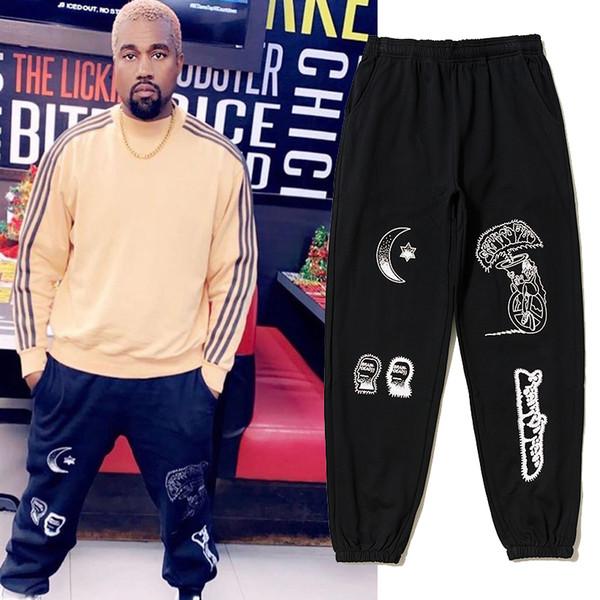 Fashion-19SS New Kanye Pants Saison 6 Calabasas Saison 5 Pantalons de survêtement Cerveau Fleur Imprimer Hommes Femmes Hip Hop Kanye West Pantalons Joggeurs