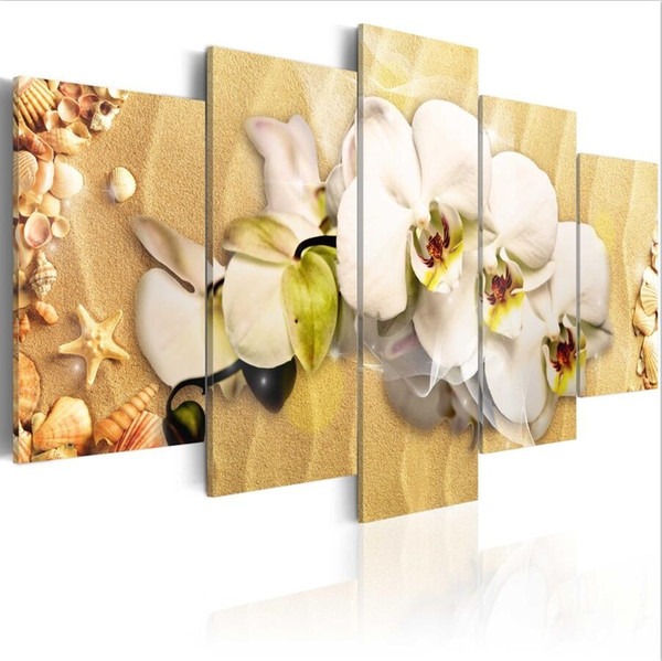 (Sin marco) 5 Unids / set Modern Beach y Orchid Flower Wall Art Canvas Canvas, Modern Wall Pictures for Living Room Decor Pinturas modernas
