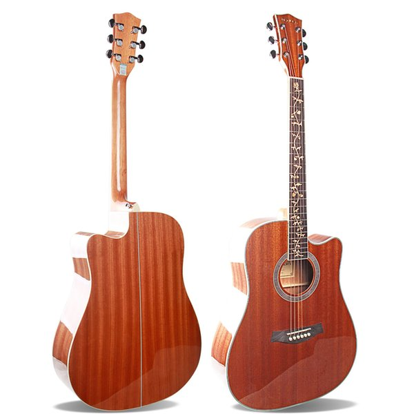 """High Quality 41"""" Acoustic Guitar Sapele Top,Sapele Back&Side, Folk Guitar, High gloss, Finger board with Carving, Mellow Tone"""