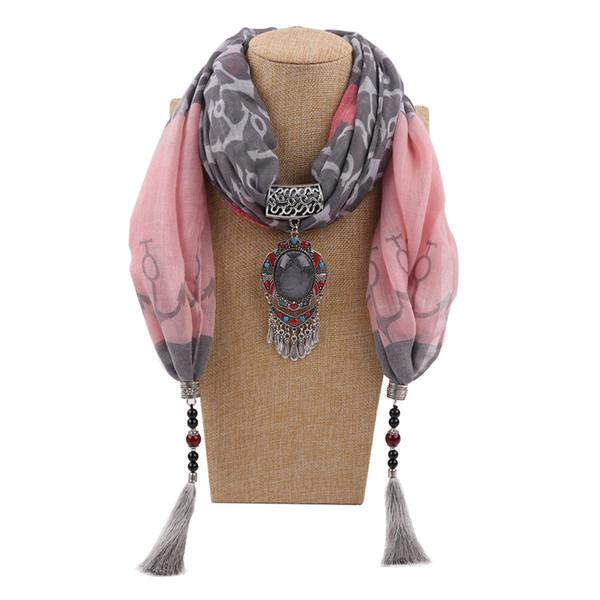 Gioielli nappe ciondolo sciarpa collane Ladies Fashion Bufandas Designer sciarpe in cotone per le donne Accessori di abbigliamento