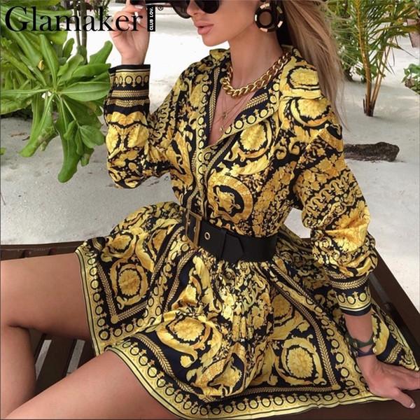 Glamaker Sexy Paisley Vintage Print Vestido de Oro Vestido de Playa Corto Vestido de Fiesta de Playa de Verano de Las Mujeres Elegante Vestido de Gran Tamaño J190529
