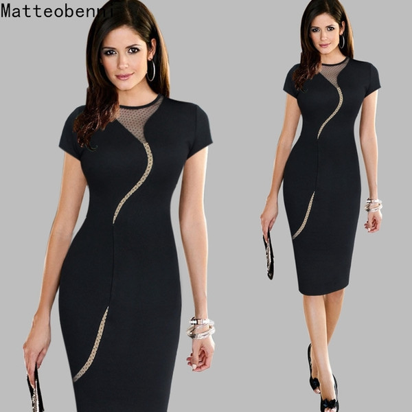 Women Vintage Wear To Work Elegant Knee Length Vestidos Business Party Bodycon Sheath Office Ruffle Ladies Black Mesh Dress Suit Y19062501