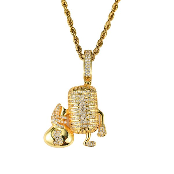 hip hop cartoon Microphone diamonds pendant necklaces for men western music luxury necklace real gold plated copper zircons Cuban chains
