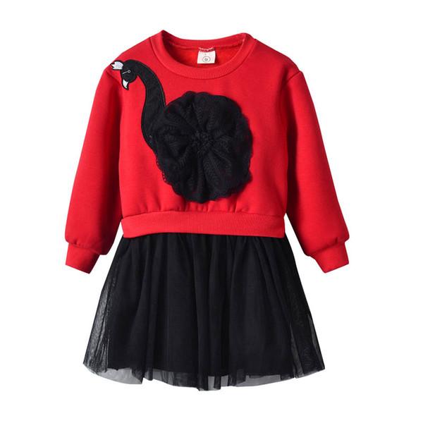 Autumn Winter Girl Clothes girls dresses Red lace dress kids designer clothes girls Princess Dresses Tulle Dress kids clothes A2749