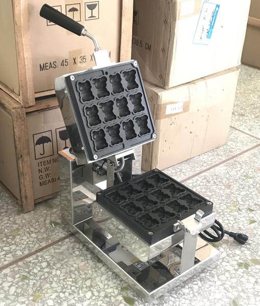 Envío libre 12 PC Mini pequeño oso Waffle máquina de hacer 1600W Comercial fabricante de la galleta de dibujos animados
