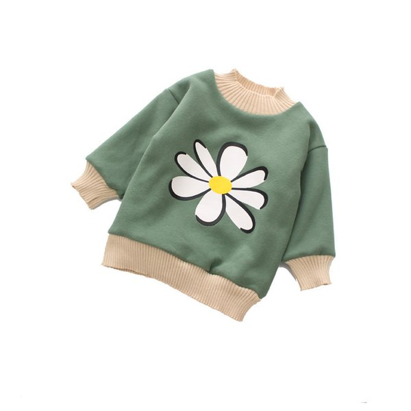 WLG girls winter velvet hoodies kids o-neck floral pink green hoodie baby thick long style warm clothes children 3-7 years