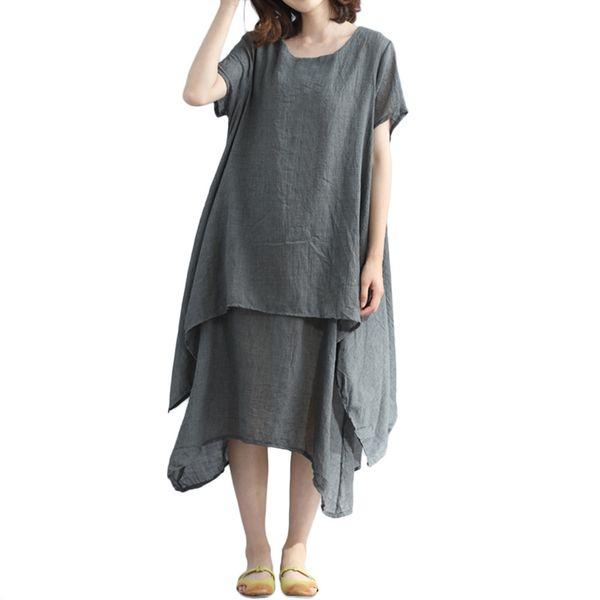 Non posso resistere all'acquisto di un abito casual allentato con orlo irregolare di lino a maniche corte in cotone o collo