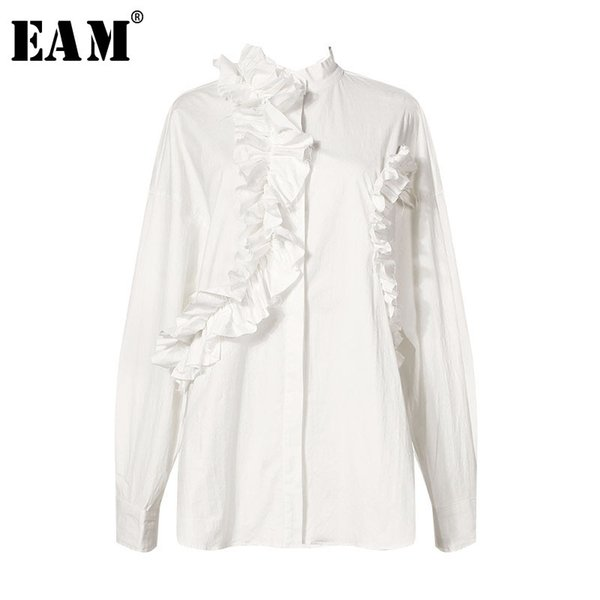 [EAM] 2019 New Spring Winter Lapel Long Sleeve White Loose Ruffles Pleated Split Joint Loose Shirt Women Blouse Fashion JL337