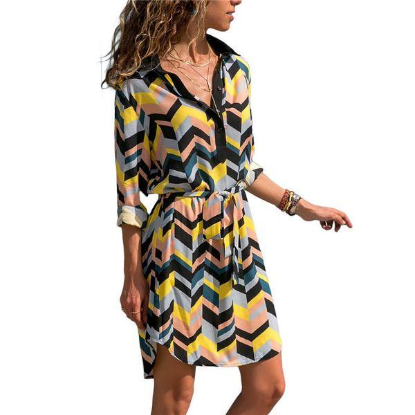 2019 Summer Chiffon Beach Dresses Women Casual Boho Style Print A-line Mini Party Dress Long Sleeve Office Shirt Dress Vestidos