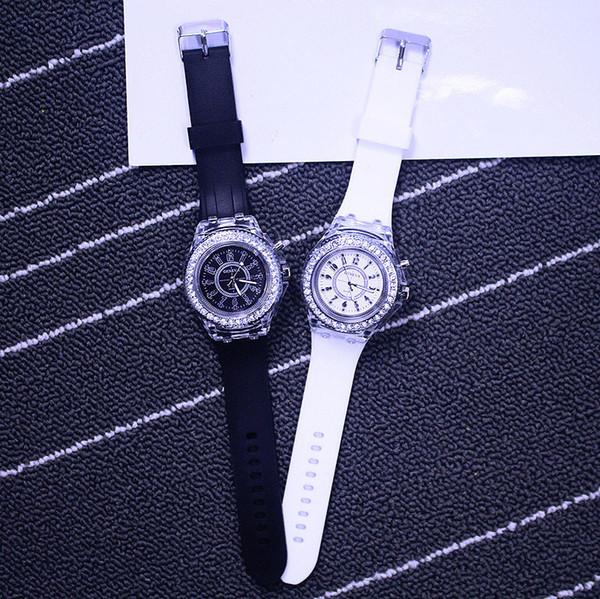 top popular Luxury Unisex Diamond LED Night Light Geneva Watch Crystal Luminous Men and Women Wristwatch Slicone Band Rhinestone Quartz Watches 11 2020