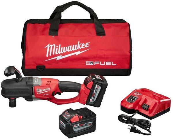 Broca Sem Fio Milwaukee Hawg Direito Ângulo Broca Kit Brushless W / 2-Baterias