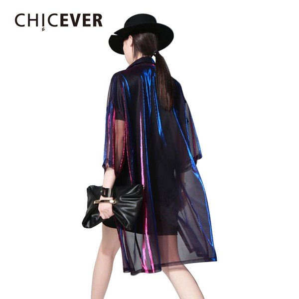 Chicever 2018 Summer Female T Shirt For Women Top Half Sleeve Colorful Transparent Long Big Sizes Cardigan Tops Clothes Korean C19041901