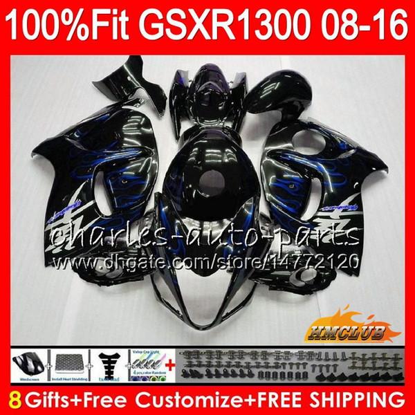 Injection For SUZUKI Hayabusa GSXR1300 08 2008 2018 GSXR 1300 25NO.64 blue flames GSXR-1300 08 09 10 11 12 13 14 15 16 17 18 OEM Fairings