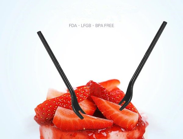 Hot Sale disposable plastic cake forks two-pronged fruit fork, dessert snack fork