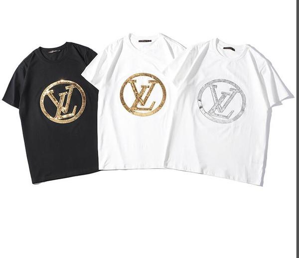 2019 Tide Brand Cotton Women Women Funny T-shirt Cute Eyes Imprimir de calidad superior Casual manga corta camiseta de lujo delgado con etiquetas Tops Tees