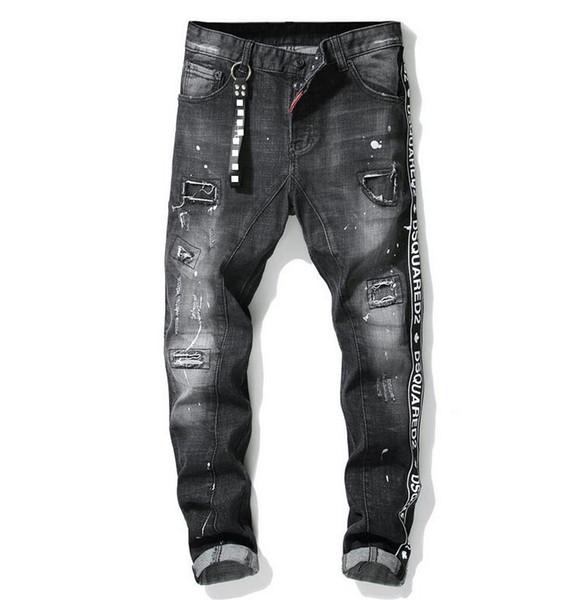 High Quality Men's Fashion Stitch Luxury Jeans Designer Men Jeans Hole Casual Famous Brand Slim Fit Mens Printed Jeans Biker Denim Pants