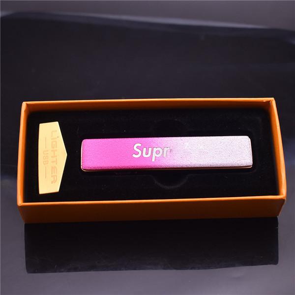 Creativo pequeño USB recargable a prueba de viento eléctrico sin llama de carga electrónica encendedor de cigarrillos sin humo Supreme encendedores