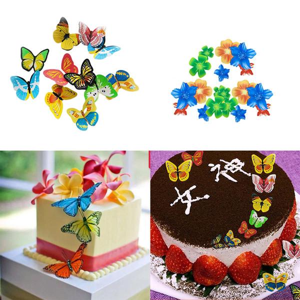 100pcs / boîte Papillon Fleurs Comestibles Glaçante Gaufrette Riz En Papier Gâteau Gâteau Cupcake Toppers Gâteau D'anniversaire De Mariage Décoration Outil