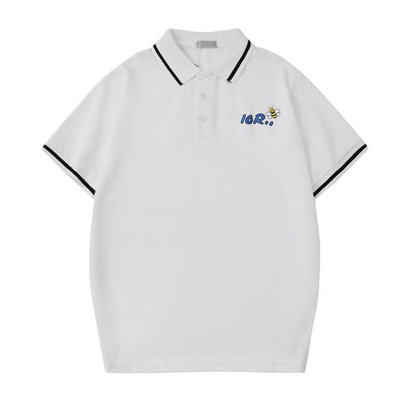 Mens Designer Polo Shirts Letter Print Bee Summer Short Sleeve Tshirt Polo Fashion Casual Blouse Polos Tops Tees Black White S-2XL