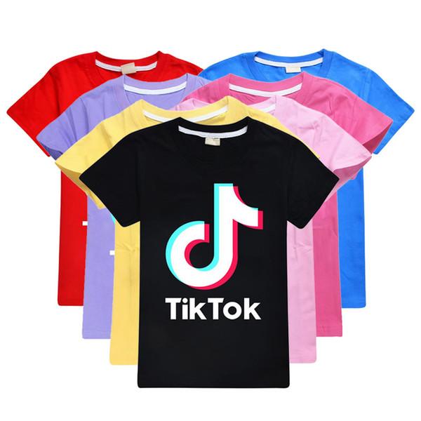 top popular Summer Tiktok T Shirt For Big Girl Boy Clothes Fashion Kid Cotton Letter Tee Children Print Top Clothing 2021