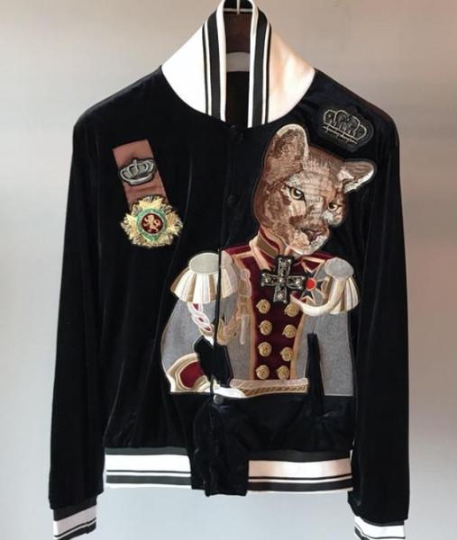 2019 primavera nueva llegada de la moda perro gato duque corona insignia bordado béisbol bombardero chaquetas para hombres ropa de diseñador de marca