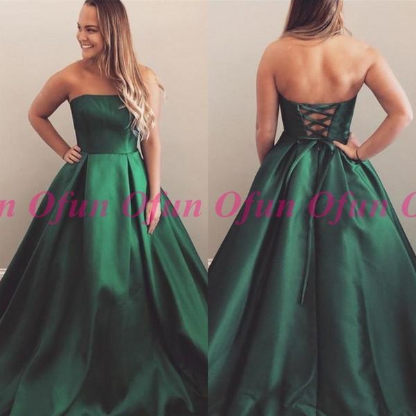 2019 Koyu Yeşil Straplez Saten Balo Elbise Basit Kolsuz Backless Lace Up Geri Uzun Abiye giyim
